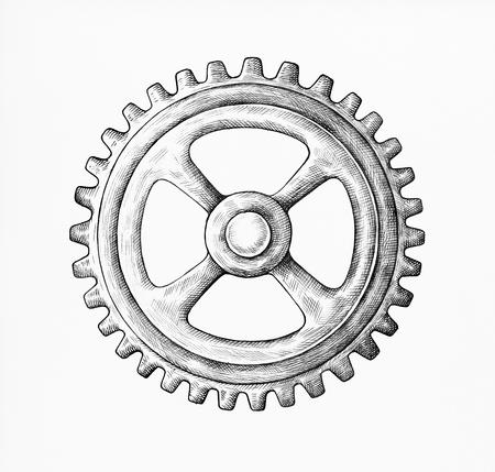 Hand-drawn gear illustration Stock Photo