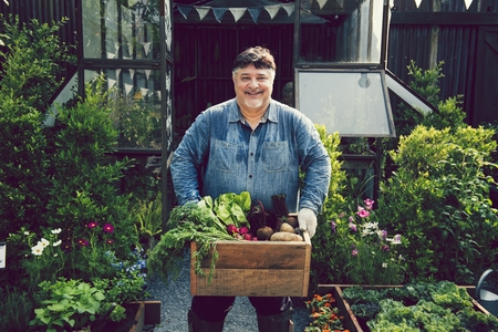 Man holding a crate of fresh vegetables