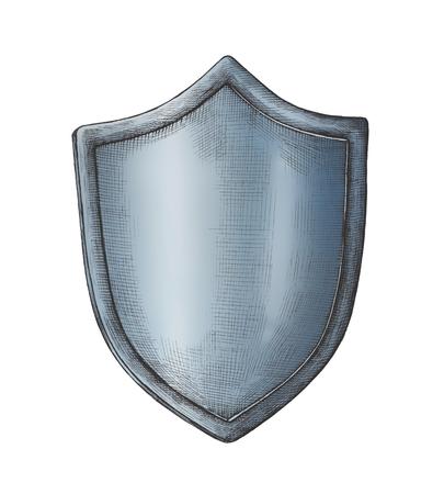 Hand-drawn blue shield illustration