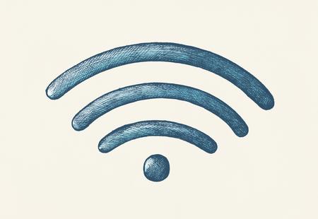 Hand-drawn blue wireless internet illustration Banco de Imagens