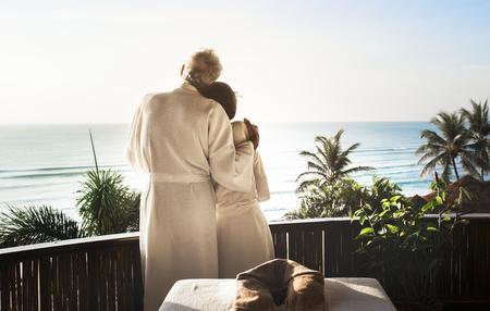 Senior couple at a spa Imagens