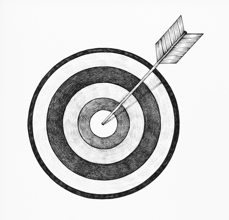 Hand-drawn dartboard and arrow illustration