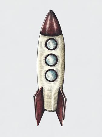Hand-drawn rocket illustration
