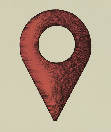 Hand-drawn red location pin illustration