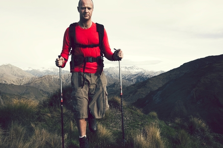 Extreme Hiking across rugged mountains, New Zealands Southern Alps