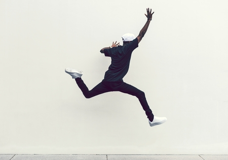 Man jumping into the air