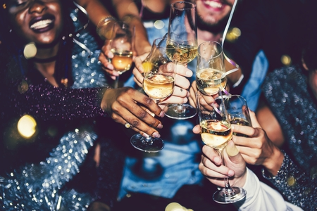 Friends going crazy at a new years party Stock Photo
