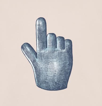 Hand-drawn blue hand cursor illustration