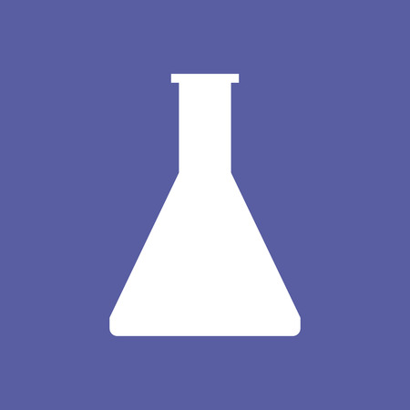 A scientific flask on purple background