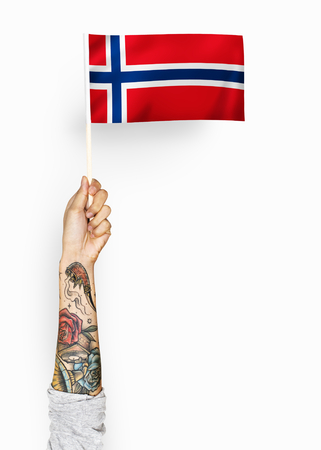 Person waving the flag of Kingdom of Norway Imagens