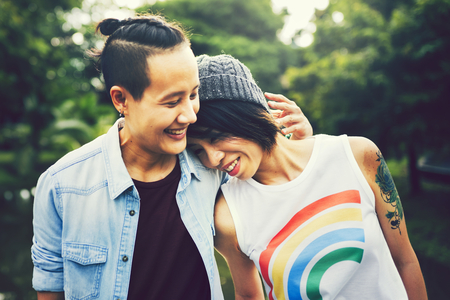 Asian lgbt couple in love