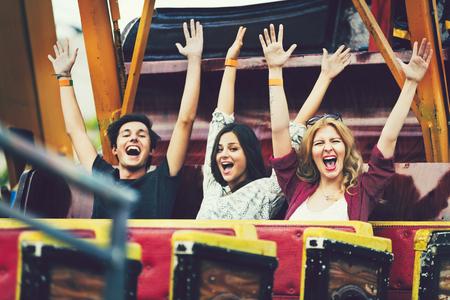 Group of friends enjoying an amusement park
