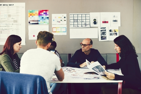 Group of people attending a startup business course Stock Photo