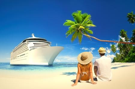 Couple relaxing at a beach in Samoa Banco de Imagens