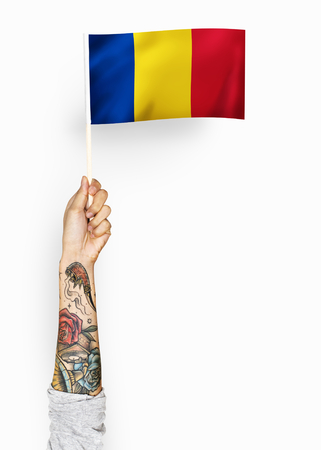 Person waving the flag of Romania Imagens