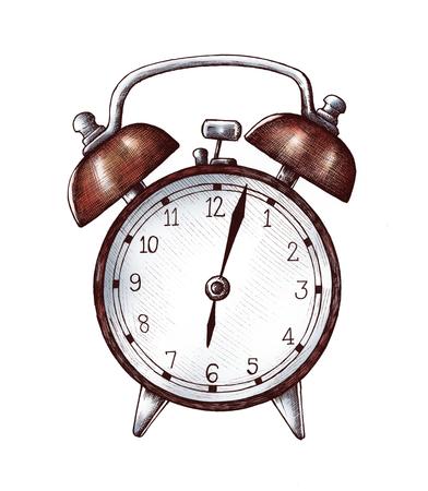 Hand-drawn alarm clock illustration Stok Fotoğraf