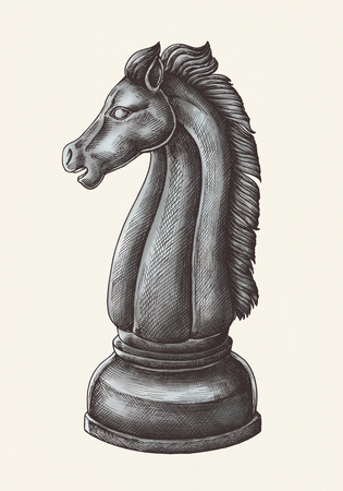 Hand-drawn chess knight illustration 写真素材