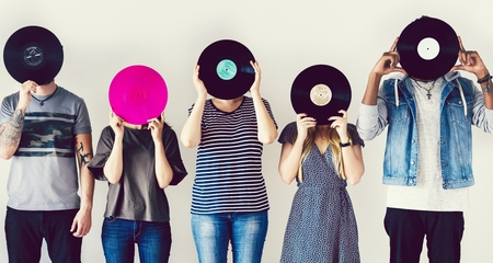 Friends with vintage vinyl records