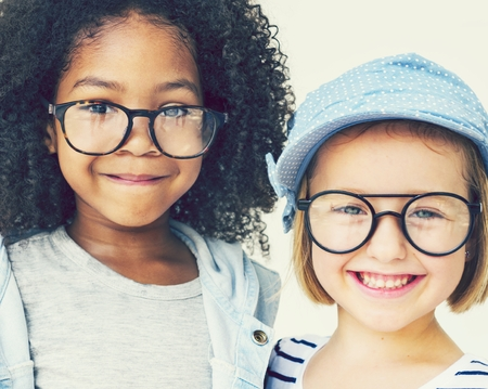 Cute little girls with glasses