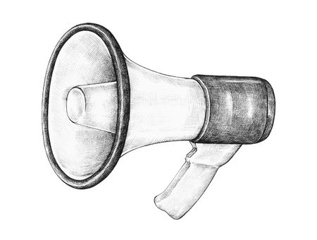 Hand-drawn megaphone illustration 写真素材