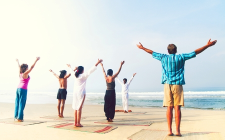 Yoga class on the beach in India