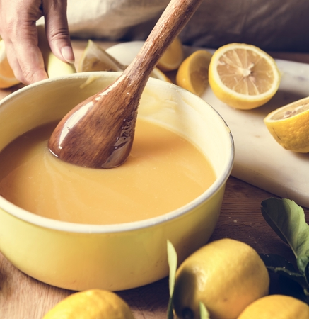 Lemon curd food photography recipe idea Banque d'images - 110445930