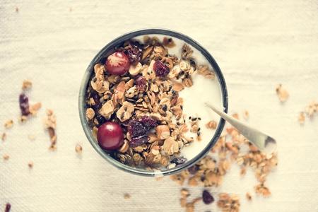 Healthy granola food photography recipe idea Stock Photo