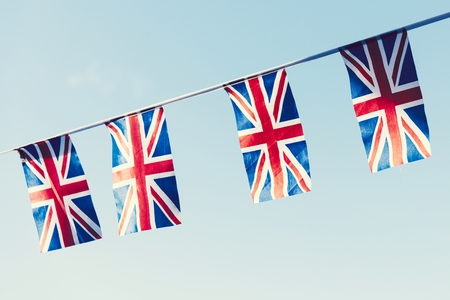 Bunting of British flags in the sky