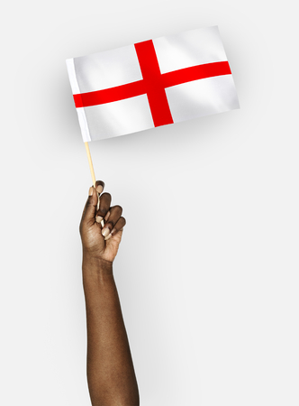 Person waving the flag of England 写真素材 - 110449537