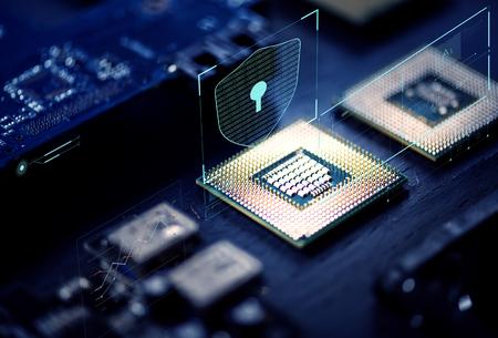 Primer plano de microchips en un procesador de computadora Foto de archivo