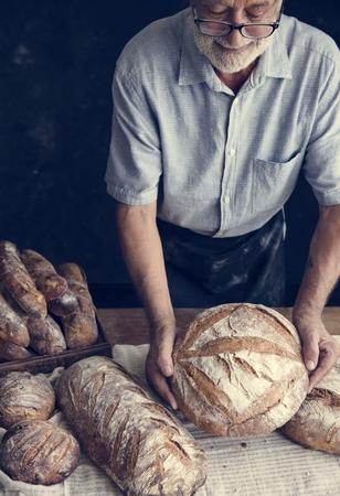 Homemade sourdough bread food photography recipe idea Stock Photo - 110449709