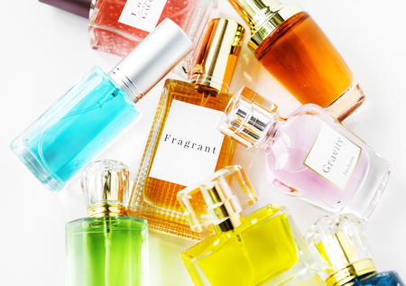 Collection of small perfume bottles Stockfoto