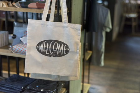Canvas bag in a shop mockup