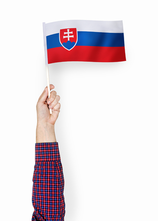 Hand showing flag of the Slovak Republic