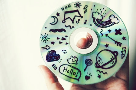 Closeup of a CD with doodles