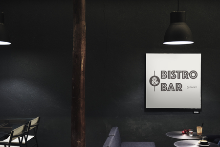 Signboard in a dark restaurant mockup Stockfoto