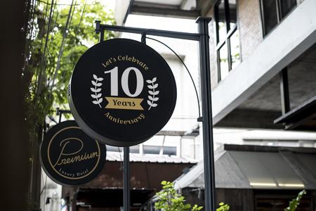 Black sign outside a restaurant mockup 写真素材