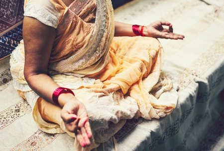 Indian woman in meditation pose