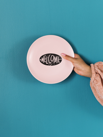 Design space on a pink plate mockup