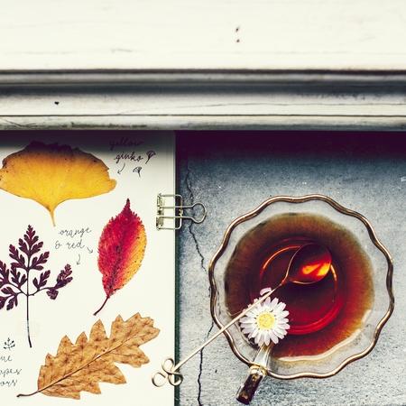 Cup of tea and pressed flowers 版權商用圖片