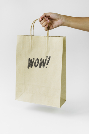 Natural paper bag branding mockup Stock Photo - 110450988