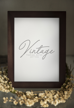 Wooden standing photo frame mockup