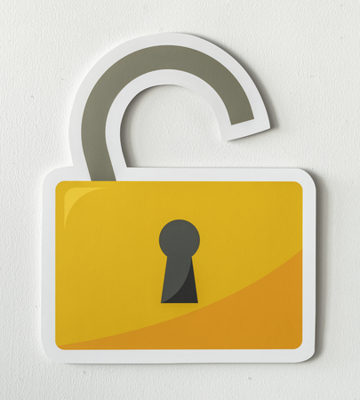 Privacy security open lock icon Foto de archivo - 110450997