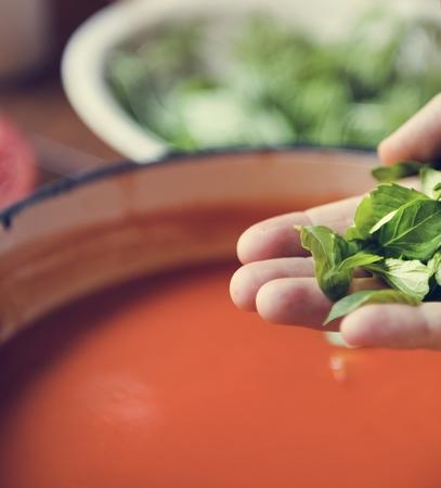Creamy tomato sauce food photography recipe idea 版權商用圖片
