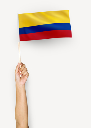 Person waving the flag of Republic of Colombia