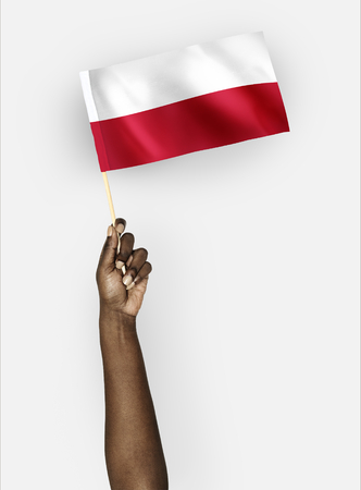 Person waving the flag of Republic of Poland