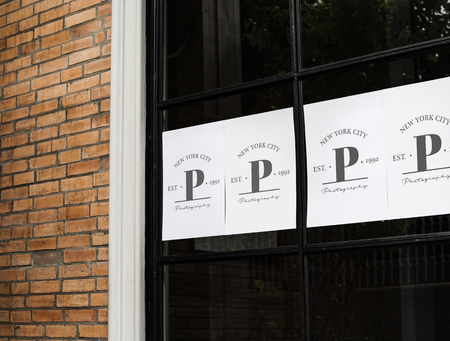 Posters on a black window mockup