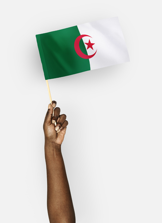 Person waving the flag of People's Democratic Republic of Algeria