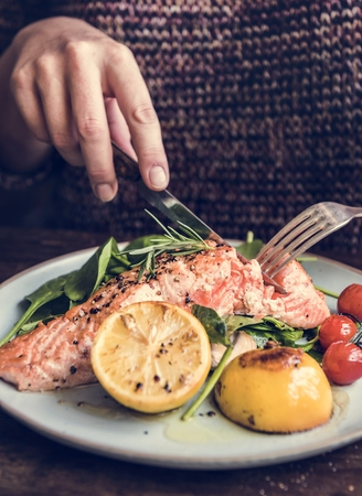 Baked salmon food photography recipe idea Reklamní fotografie