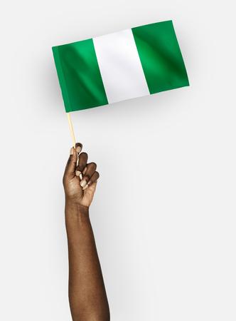 Person waving the flag of Federal Republic of Nigeria Banco de Imagens